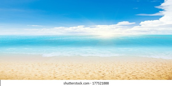 Tropical beach and ocean. Panoramic shot