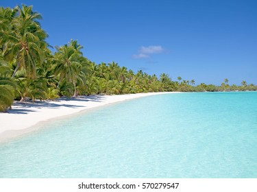 Tropical Beach on Aitutaki in the Cook Islands, South Pacific