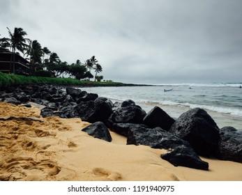 Tropical beach on Kauai, Hawaii