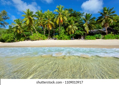 Tropical beach on Paradise island. Summer vacation travel holiday background concept.