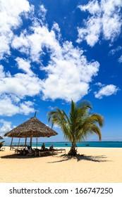 A tropical beach on a sunny day on an island