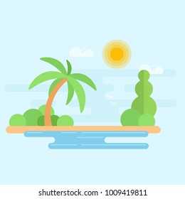 Tropical beach with palm tree and ocean. Summer vacation flat  Illustration