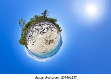 Tropical Beach with Palms - Littele Planet with blue sky, water and sun