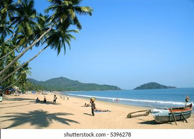 Tropical beach of Palolem, Goa state, India