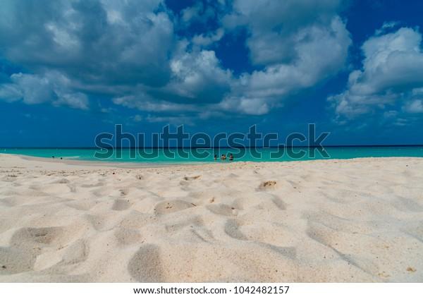 tropical beach panorama of the Caribbean sea