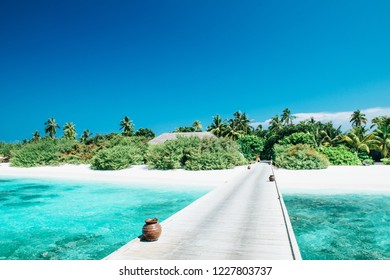 Tropical Beach Panorama on the Maldives