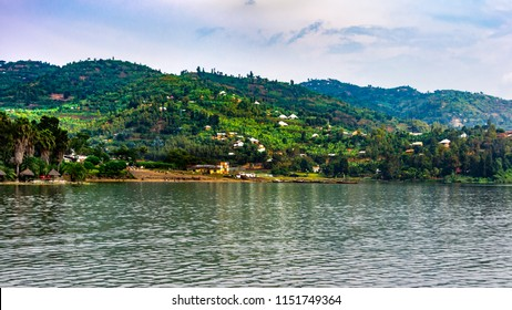 Tropical beach ,panoramic view to lake Kivu, Gisenyi, Rwanda, soft focuse