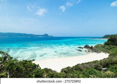 Tropical beach paradise and clear blue water of coral reef lagoon, Amami Oshima Island of the Satsunan Islands, Kagoshima, Japan
