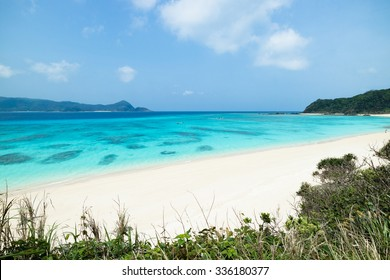 Tropical beach paradise and clear blue water of coral reef lagoon, Amami Oshima Island, Kagoshima, Japan