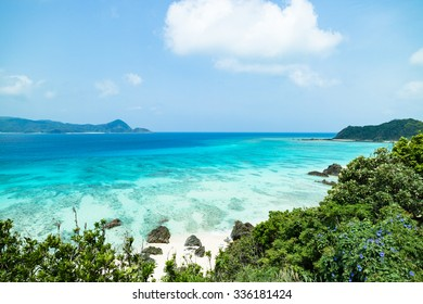 Tropical beach paradise with clear turquoise blue water, Amami Oshima Island, Kyushu, Japan
