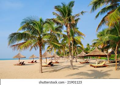 Tropical beach paradise of Sanya in Hainan Province, south China.