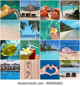 Tropical beach and resort concept collage