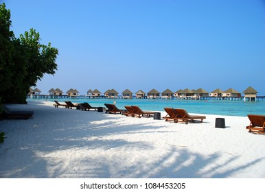 Tropical beach at resort, North Malé Atoll, Republic of Maldives, Adaaran Prestige Vadoo resort hotel