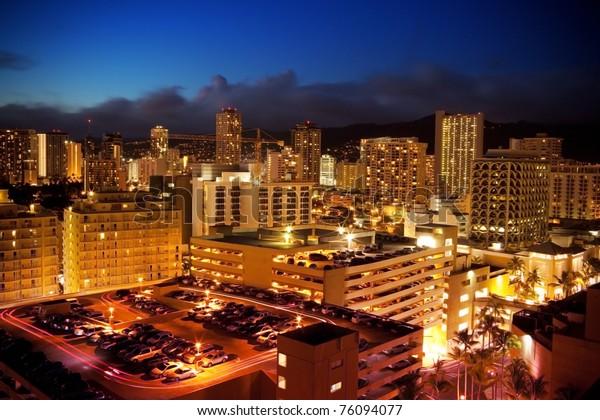 Tropical Beach Resort Paradise Night Waikiki Stock Photo