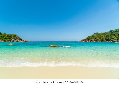 Tropical beach and rocky coastline and beautiful forest. Nga Khin Nyo Gyee Island Myanmar