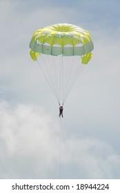 tropical beach scene - Boat driven parachute flight