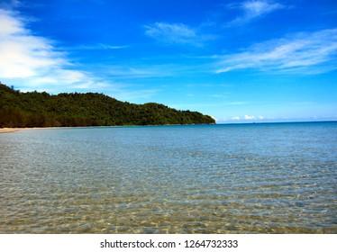 Tropical beach scene at Sabah, Borneo, East malaysia