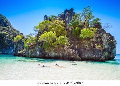 Tropical beach scenery, Andaman sea, View of koh hong island krabi,Thailand
