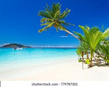 Tropical beach scenery at Caribbean Sea