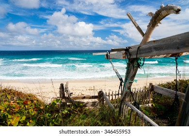 Tropical beach and sea on Bahamas island of Eleuthera