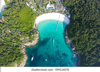 Tropical beach with sea and palm taken from drone. Seychelles famous shark beach - aerial photo - Boost up color Processing.