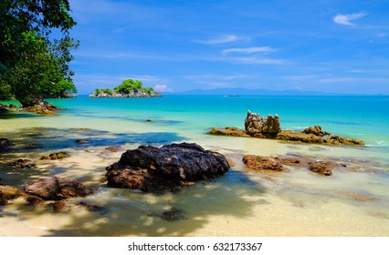 Tropical beach seaside and blue sky at Koh Phayam Island of Ranong,Thailand