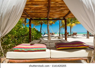 Tropical beach setting on Isla Holbox, Quintana Roo, Mexico