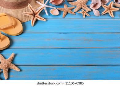 Tropical beach summer starfish flip flops background border