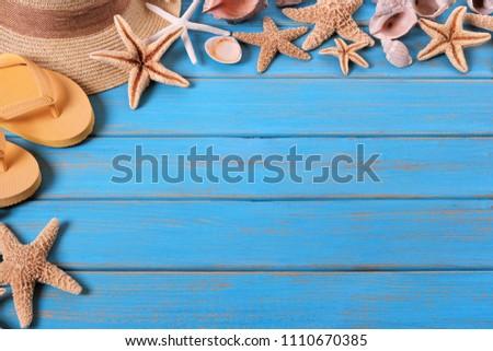 b0838e0b642c Tropical Beach Summer Starfish Flip Flops Stock Photo (Edit Now ...