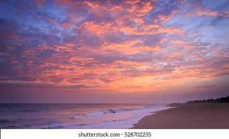 Tropical beach sunset sky