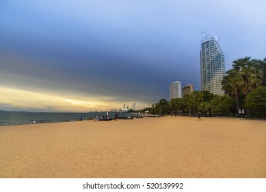 Tropical beach at sunset time with sand, building, hotel,Pattaya,Thailand