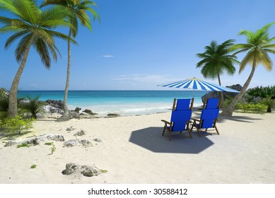 Tropical beach with sunshade and a pair of reclining chairs
