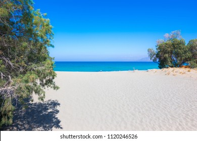 Tropical beach with tamarisk and turquoise water in Komos, Crete, Greece