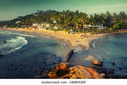 Tropical beach in the town of Mirissa, Sri Lanka