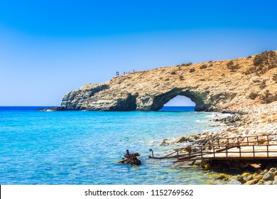 The tropical beach of Tripiti at the southern point of Gavdos island and Europe too, with the famous giant wooden chair, Greece.