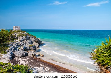Tropical beach of Tulum, Mexico with mayan ruins