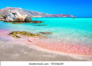 Tropical beach with turquoise water and red sand, in Elafonisi, Crete, Greece