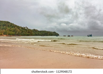 tropical beach under gloomy sky. Thailand