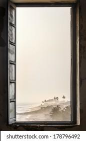 Tropical beach viewed from Cape Coast Castle, Ghana, West Africa