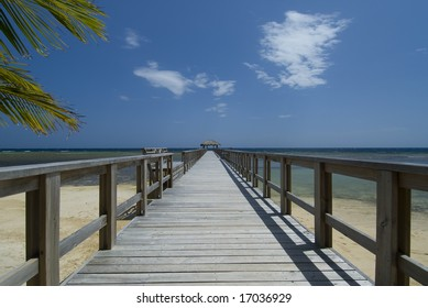 Tropical beach with wooden bridge and hut