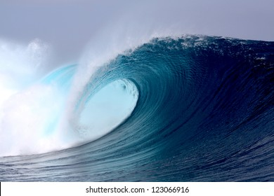 Tropical blue surfing wave