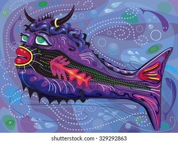 Tropical Bull Fish Illustration on swirling underwater background