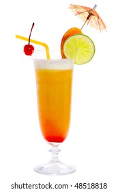 Tropical cocktail Hurricane isolated on white