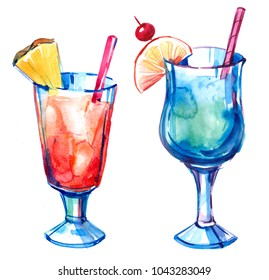 Tropical cocktails. Watercolor hand drawn illustration