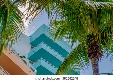 Tropical colors of Miami's South Beach art deco scenes reflect the older architecture of South Miami