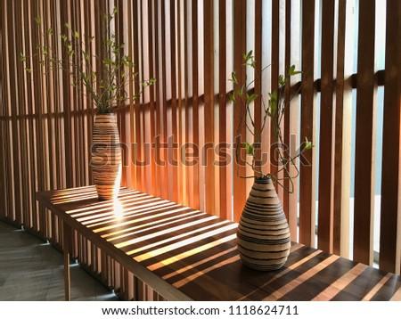 tropical decoration interior design wood stripe stock photo (edittropical decoration interior design, wood stripe wall, tropical mood and tone the tiny
