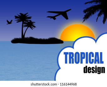 tropical design background with palm island and airplane at sunset