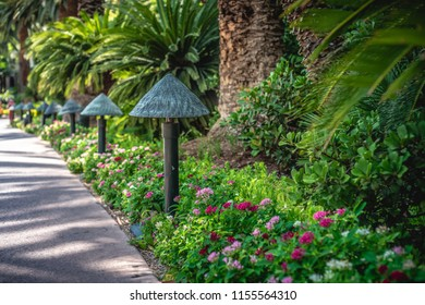 Tropical designed lamps lined up by the sidewalk nestled in the palm tree bushes and garden beds.