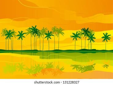 Tropical dreams. Horizontal  landscape with tropical coast..