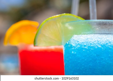 Tropical drinks at the swimming pool, Mexico
